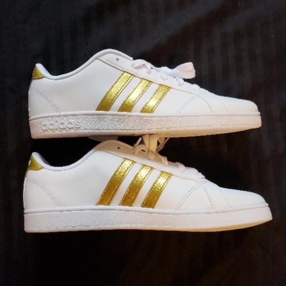 Nib Adidas Neo White W Gold Stripes